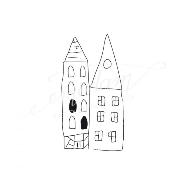 Rubber stamp - Little houses No.6