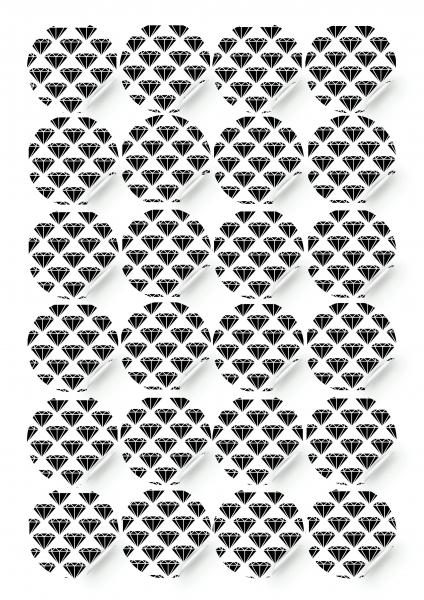 Sticker - Black diamonds, 24 pieces