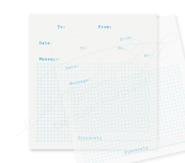 Note sheets - To-From-Message, cyan, grid on transparent paper
