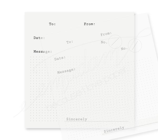 Note sheets - To-From-Message, black, dot grid on transparent paper