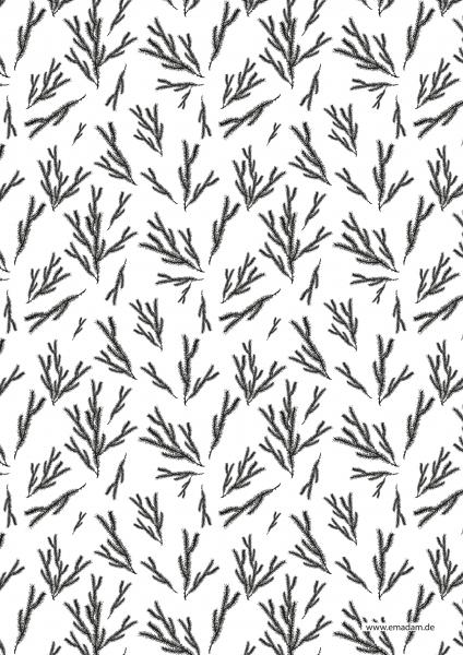 "Pattern ""Fir brunch black"""