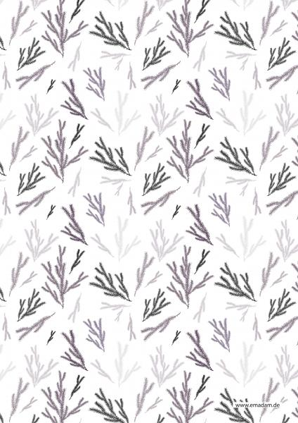 "Pattern ""Fir brunch lilac/grey"""