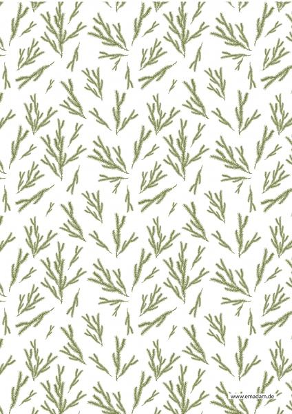 "Pattern ""Fir brunch moss green"""