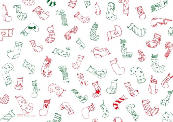 "Pattern ""Christmas stocking"", red and green"