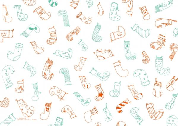 "Pattern ""Christmas stocking"", turquoise and orange"