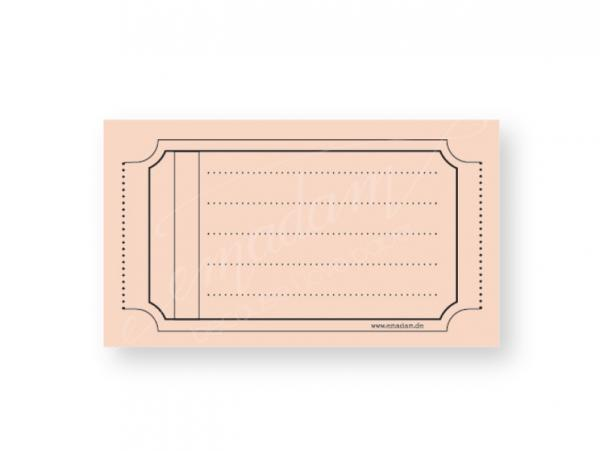 Notepad - Vintage-ticket, salmon