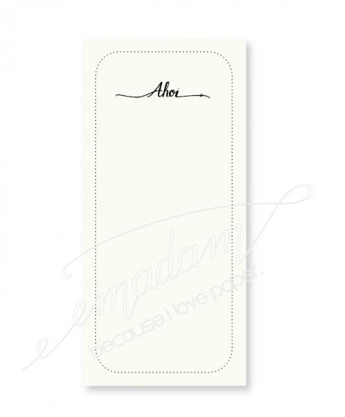 "Notepad - ""Ahoi"" with dotted line"