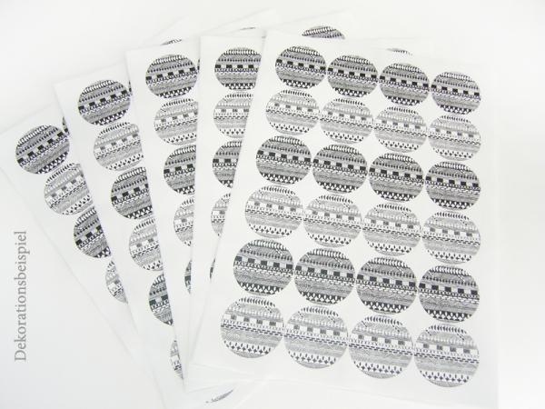Sticker - Black and White Bohemian Style, 24 pieces