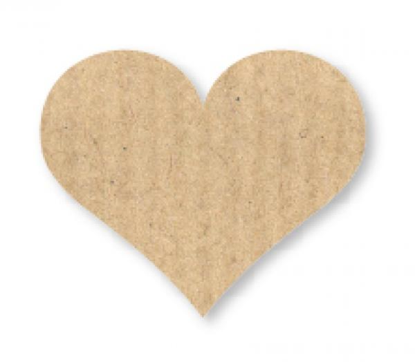 30 x Heart in kraft paper style - sticker