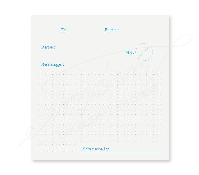 Note sheets - To-From-Message, cyan, dot grid on transparent paper