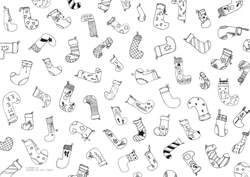 "Pattern ""Christmas stocking"", black"