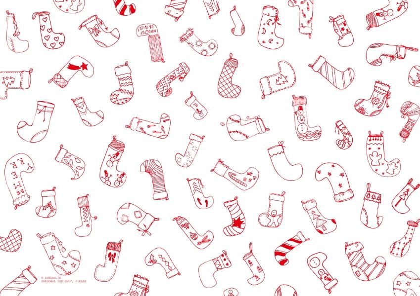 "Pattern ""Christmas stocking"", red"