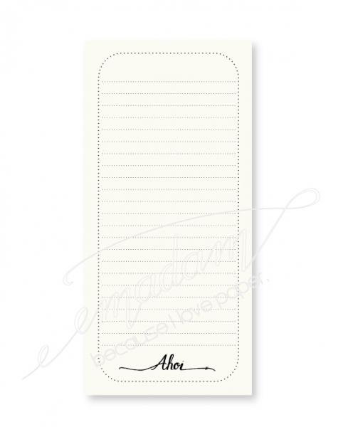 "Notepad - ""Ahoi"" with dotted border and lined"
