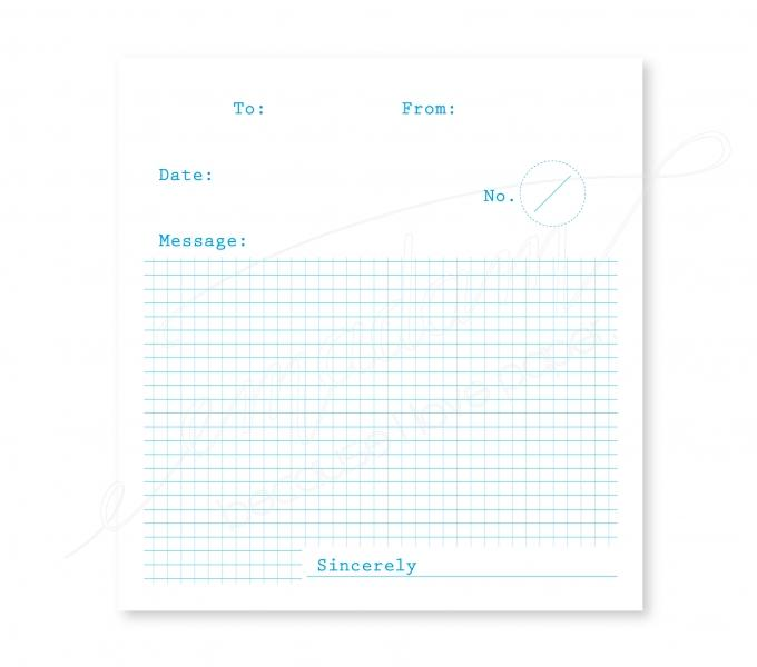 Notepad - To-From-Message, blue on different papers